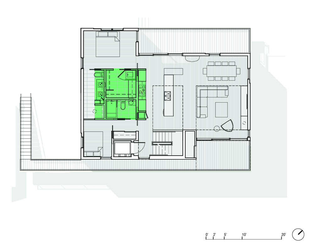Project jade house el studio second floor plan the kitchen provides a command point from which a user can keep one eye on the family business and the other on the beach jameslax Choice Image